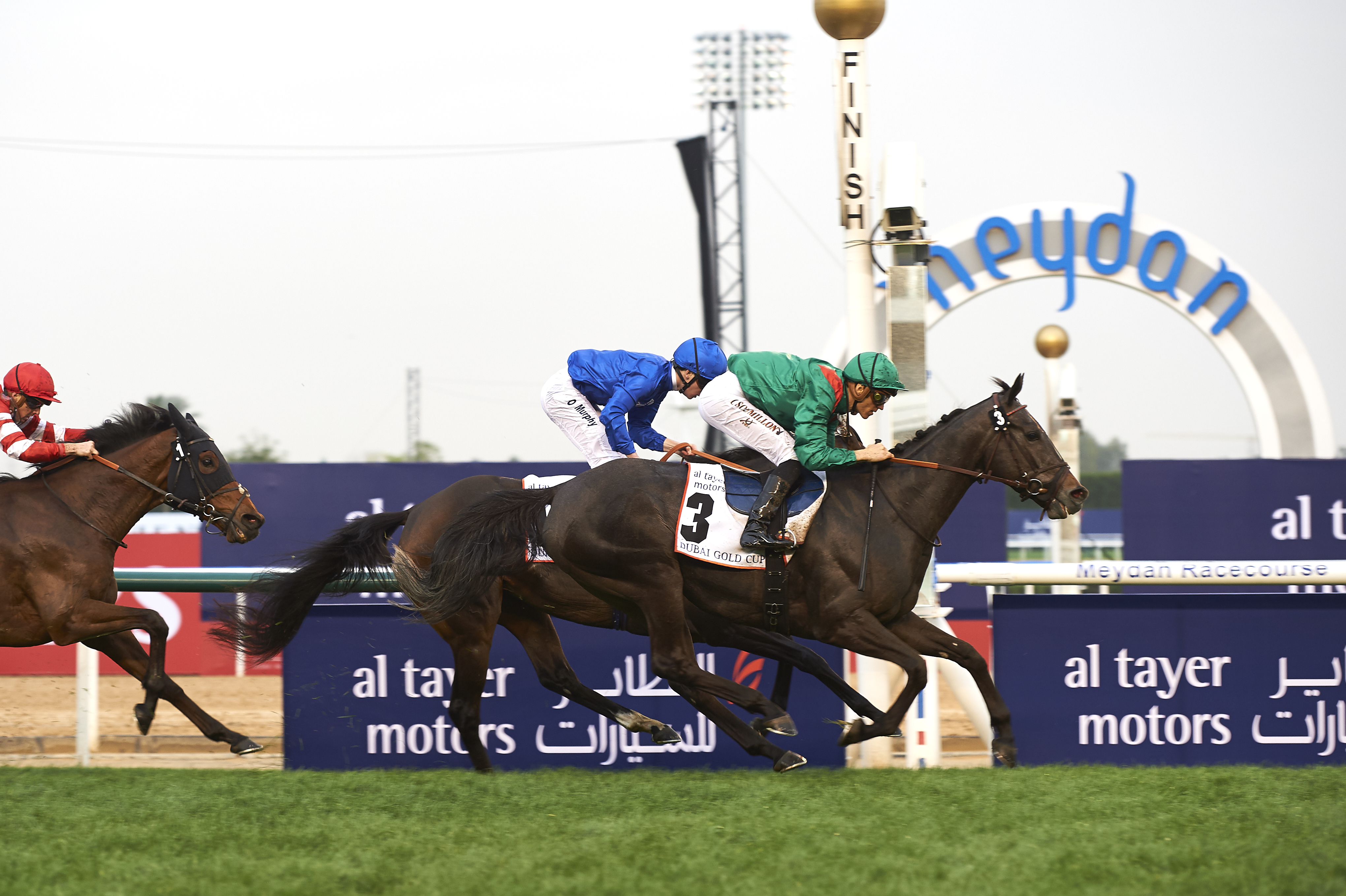 Vazirabad (FR) (Alain De Royer-Dupre -Christophe Soumillon) wins the Dubai Gold Cup Sponsored by Al Tayer Motors at the DWC at Meydan on March 25th 2017. (Credit -Dubai Racing Club , Andrew Watkins)